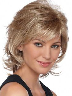 Angela by Estetica Designs - Synthetic Pure Stretch Cap Wig - The HeadShop Wigs Short Brown Hair, Very Short Hair, Short Hair With Layers, Layered Hair, Medium Layered, Medium Hair Cuts, Short Hair Cuts, Medium Hair Styles, Curly Hair Styles