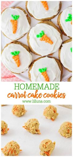 All the flavors you love from carrot cake but in cookie form! With the use of a boxed cake mix these Carrot Cake Cookies are so easy to make. Topped with homemade cream cheese frosting they're hard to resist! Homemade Carrot Cake, Easy Carrot Cake, Easy Homemade Cookies, Carrot Cake Cookies, Cake Box Cookies, Frosted Cookies, Baby Cookies, Heart Cookies, Valentine Cookies