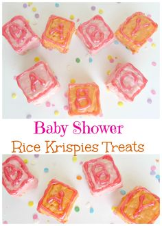 Baby Shower Rice Krispies Treats. Cute baby block rice krispies treats perfect for any baby shower! - Val Event Gal