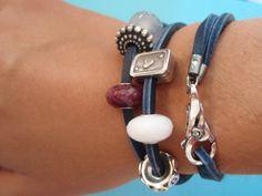 Trollbeads blue leather bracelet!! #Trollbeads #bracelet #beads