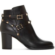 Valentino Black Valentino Garavani Rockstud Ankle Boots (69.865 RUB) ❤  liked on Polyvore featuring