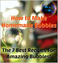 Learn how to make homemade bubbles with 7 cheap, easy bubble recipes for kids! Everything from a simple bubble recipe with soap and water to sugar bubbles! Homemade Bubble Recipe, Homemade Bubbles, How To Make Homemade, Bubble Recipes, Diy Recipe, Homemade Toys, Homemade Gifts, Projects For Kids, Diy For Kids