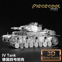 Free shipping 3D jigsaw puzzle DIY model miniature three-dimensional sculptures of nano metal alloy German Tiger tank model