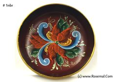 """Red Bowl, Signed by Artist  Original One of a Kind Designed &   Hand Painted by Joan Dahl   FREE SHIPPING & HANDLING  Diameter: 6""""  Depth: 1 3/4""""  Cost Only: $20  For more information:  online@rosemal.com www.rosemal.com  352 447-4178"""