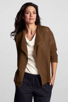Red Women's Regular 3/4-sleeve Cotton Drape Cardigan from Lands' End