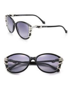 ROBERTO CAVALLI Swarovski Crystal Snake Injected Sunglasses. #robertocavalli #sunglasses