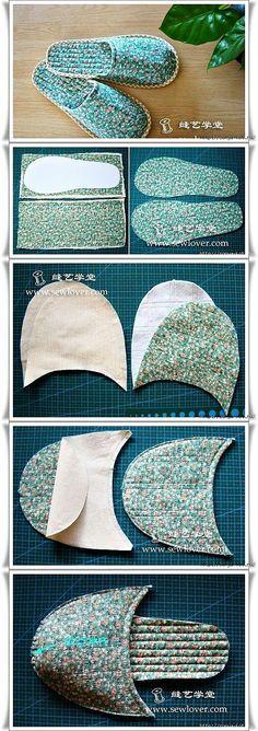 Visual construction for slide on slippers