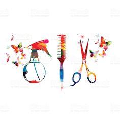 Fondo con colorido Peluquería herramientas combinadas, tijeras y rociador illustracion libre de derechos libre de derechos
