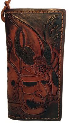 Leather Biker Wallet Hand tooled Samurai by LabrysLeatherworks