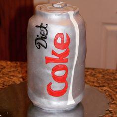 Diet Coke can, fondant cake, silver, drink, soda, pop, Diet Coke Cake, Egg Muffin Cups, Fondant Cakes, No Bake Cake, Soda, Canning, Drinks, Cake Ideas, Silver