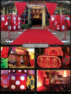 Casino/Vegas Theme:    3-D dice, deck of cards, vegas signs, roulette props, red carpet, poker chips, stanchions, swag crosses,and lit city scape. All available to rent at your next event.  Damian@monsterstage.com  Tim@monsterstage.com    www.monsterstage.com    facebook.com/monsterstage