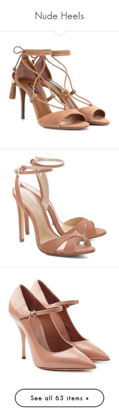 """Nude Heels"" by sakuragirl ❤ liked on Polyvore featuring shoes, sandals, heels, brown, brown shoes, dolce gabbana sandals, brown suede shoes, brown sandals, suede sandals and ankle strap shoes"