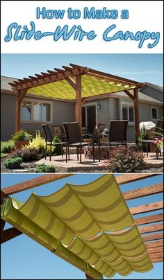 Have you got an area where you want shade in summer but lots of sun in winter? Then this DIY project is for you! Learn how to make a slide-wire canopy...