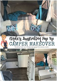What a gorgeous pop up camper makeover!  I love the neutral color scheme, which she picked to coordinate with the existing canvas.  Beautiful!