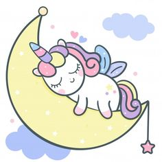 Cute unicorn vector sleeping on moon car... | Premium Vector #Freepik #vector #background #food #birthday #happy-birthday Moon Cartoon, Cute Cartoon, Cartoon Unicorn, Sleep Cartoon, Rainbow Cartoon, Unicorn Drawing, Unicorn Art, Unicorn Wallpaper Cute, Unicorn Illustration