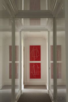 Luis Bustamante's Madrid apartment - lacquered wall panels, drawings by Emilio Ganan