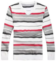 Men Fashion Simple Stripe All Matching Long Sleeve V-Neck WhiteKnitting Sweater One Size@WH0110w