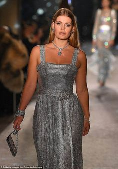 Princess Diana's niece, Lady Kitty Spencer, just wore a stunning dress on the runway—see it here. Stunning Dresses, Sexy Dresses, Party Dresses, Princess Diana Niece, Kitty Spencer, Silver Dress, Gray Dress, Glamour, Princesa Diana