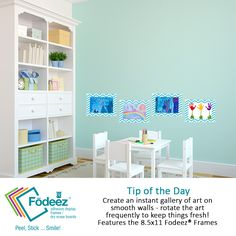 """We know you would love to have the """"playroom"""" look like this! We can at least help with the wall issue! #kids #playroom #artwork  http://fodeez.com/products/8-5-x-11-fodeez-frames-chevron"""