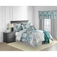 43 Trendy bedroom ideas teal and grey comforter Teal Bedroom Decor, Blue Bedroom, Bedroom Colors, Bedroom Ideas, Grey Teal Bedrooms, Master Bedroom, Bedroom Furniture, Furniture Design, Shabby Chic Bedrooms