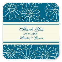 Teal Cream Thank You Wedding Favor Tags Square Stickers