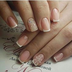 How To Do faded french nails Xmas Nails, Holiday Nails, Christmas Nails, Gorgeous Nails, Love Nails, Pretty Nails, Nailed It, Bride Nails, Sparkle Nails
