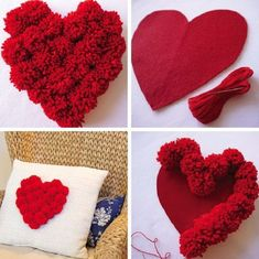 Valentine's Day Favors – 45 Creative and Cheap Ideas - Valentinstag Diy Crafts Hacks, Diy And Crafts, Crafts For Kids, Pom Pom Crafts, Flower Crafts, Valentines Day Decorations, Valentine Day Crafts, Valentine Wreath, Saint Valentin Diy