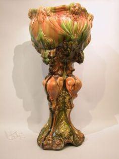 Weller Pottery Victorian Majolica Glaze Pedestal Jardiniere.
