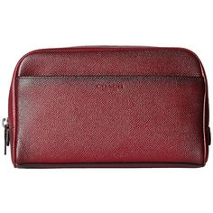 COACH Burnished Crossgrain Travel Kit (Burgundy) Travel Pouch ($165) ❤ liked on Polyvore featuring men's fashion, men's grooming and men's grooming bags