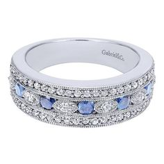 Gabriel NY | Vintage style diamond and sapphire band