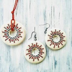 HandPainted Clay Jewelleries Clay Jewelry, Washer Necklace, Handmade Jewelry, Hand Painted, Christmas Ornaments, Holiday Decor, Handmade Jewellery, Christmas Jewelry, Jewellery Making
