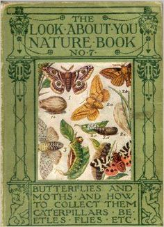 """Illustration UK : Book Cover """"Look about you, nature book"""", J. Vintage Book Covers, Vintage Children's Books, Old Books, Antique Books, Book Cover Art, Book Art, Illustration Art Nouveau, Etiquette Vintage, Beautiful Book Covers"""