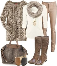 Sweater. Boots. Scarf. Skinnies. Neutral Colors. Fall love.