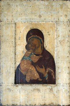 Andrei Rublev: Version of the Theotokos of Vladimir, ca. 1405 Byzantine Art, Byzantine Icons, Russian Icons, Russian Art, Religious Icons, Religious Art, Madonna, Andrei Rublev, Arte Latina