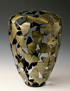 Robert Glebe's metal work with ginkgo leaves Maidenhair Tree, Ceramic Furniture, Leaf Art, Wood Carving, Painting Prints, Art Nouveau, Pottery, Sculpture, Antiques