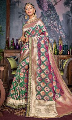 Shop Green and Peach Banarasi Silk Embroidered Saree (SKU Code : SAEBRVS10609) Online at IshiMaya Fashion