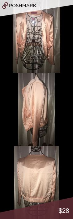 🚨Price Drop🚨Pink silk bomber blazer NEVER WORN. I brought it too small. I love this jacket and it's such a beautiful color. Great for fall and winter outfits. Boohoo Jackets & Coats Utility Jackets