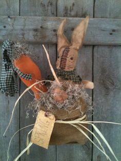 Primitive Bunny Rabbit burlap bag rusty wire easter door charmer doll carrot  #NaivePrimitive