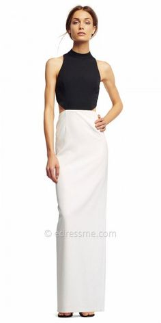 Step out of the limo in style to your next soiree in this Color Blocked Cut Out Evening Dress from Aidan by Aidan Mattox. This fabulous dress features a high collar jewel neckline with side cut outs and a lower back cut out. This color blocked style also includes a column silhouette with a center back slit for ease. #edressme