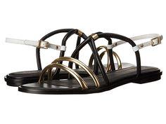 Womens Sandals Calvin Klein Udela Warm Gold/Black Leather
