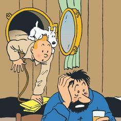 Tintin, with his dog Snowy and Captain Haddock