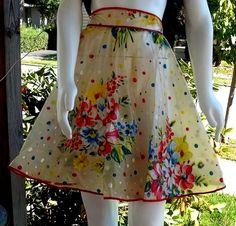 Vintage Ladies PLASTIC Swing APRON Bright Polka Dots & Flowers Rockabilly PinUp | eBay