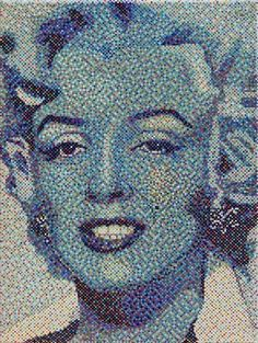 "#finearts, ""marilyn monroe"", 04. 2008, #pixelism - ca. 30.000 painted pixels, acrylic on canvas, 30 x 40 cm, ■ = 2 x 2 mm, (11.81"" x 15.75"", ■ = 0.08"" x 0.08""), painting time: 68 hours."