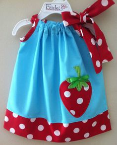 Blue & red polka dot strawberry pillowcase style by Little Dresses, Little Girl Dresses, Girls Dresses, Sewing For Kids, Baby Sewing, Toddler Dress, Baby Dress, Sewing Clothes, Doll Clothes
