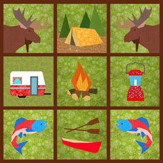 Let's go camping Set of 7 Paper pieced block by BubbleStitch