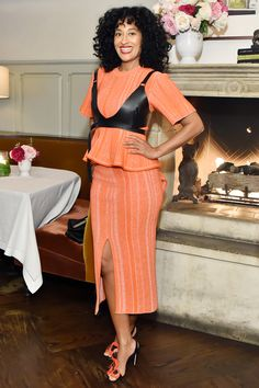 Orange-ish: Blackish star Tracee Ellis Ross, turned heads in an orangeskirt and top - and a leather bra work over the top of the garments Classy Outfits, Fall Outfits, Summer Outfits, Cute Outfits, Bad Fashion, Tracee Ellis Ross, Fashion Forecasting, Professional Outfits, Celebrity Look