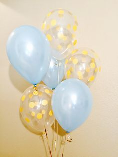Light Blue and Gold Confetti Latex Balloons Blue and Gold