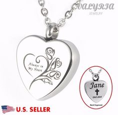 Engraved Personalized Always in my heart Cremation Jewelry Keepsake Urn Necklace #VALYRIA