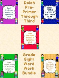 This set is for all my Dolch Word Work Sets Pre-Primer through Third Grade. These absolutely awesome packets use the Dolch word lists in order of highest frequency and in groups according to grade level and will help students accomplish their reading goals. The packets can be used in class as daily work or can be sent home for homework as a weekly packets.