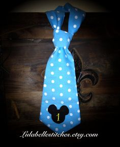 Baby Mickey Mouse 1st Birthday Party Tie by LulaBelleStitches, $20.00